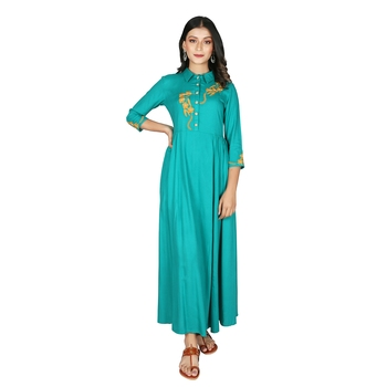 Women   s Teal Rayon Staple Embroidery Flared Dress