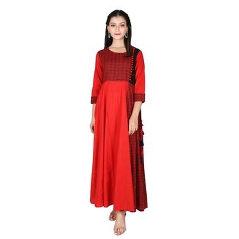 Women's Red Cotton Printed Yoke Kalidar Flared Dress