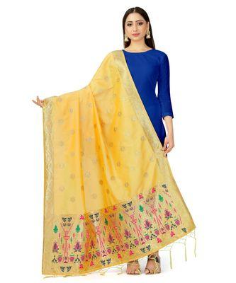 Women'S  Yellow Banarasi Art Silk Dupatta