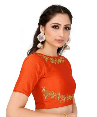 Orange Semi Stitched Raw Silk Blouse With Hand Work