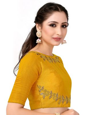 Mustard Semi Stitched Raw Silk Blouse With Hand Work