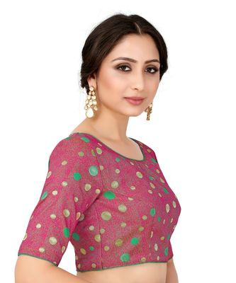 Pink Semi Stitched Art Silk Blouse With Woven With Zari All Over