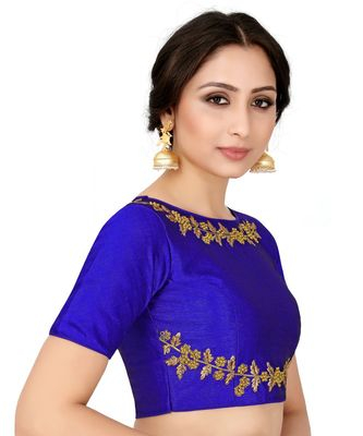 Blue Semi Stitched Raw Silk Blouse With Hand Work