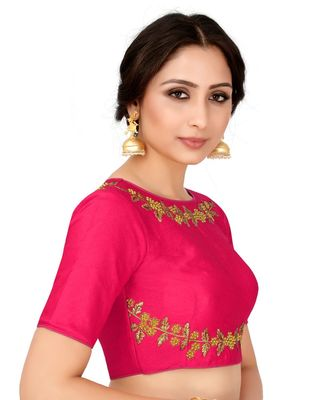 Pink Semi Stitched Raw Silk Blouse With Hand Work
