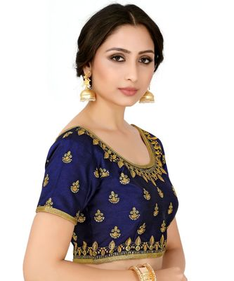 Navy Blue Semi Stitched Raw Silk Blouse With Hand Work