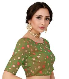 Green Semi Stitched Art Silkblouse With Woven With Zari All Over