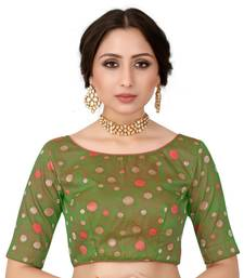 Green Semi Stitched Raw Silk Blouse With Hand Work