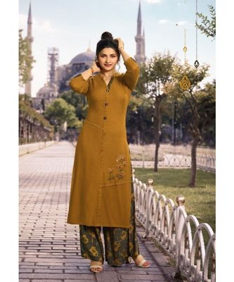 Mustard Embellished Printed Party Wear Kurti