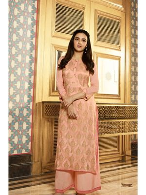 Peach Embellished Printed Party Wear Kurti