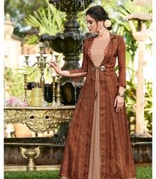 Brown Embellished Printed Party wear kurti