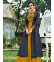 Mustard Embellished Printed Party wear kurti
