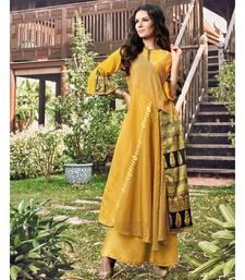 Yellow Embellished Printed Party Wear Kurti