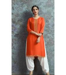 Orange Embellished Printed Party wear kurti
