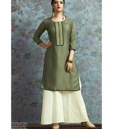 Green Embellished Printed Party wear kurti