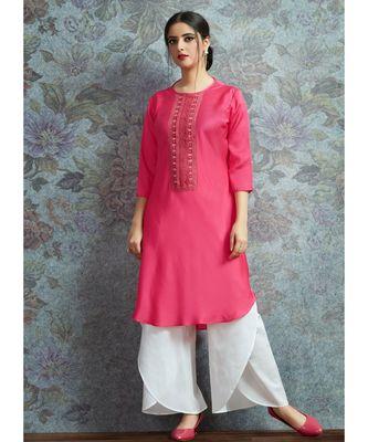 Pink Embellished Printed Party Wear Kurti