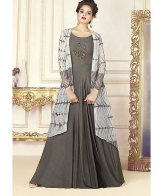 Grey Embellished Printed Party Wear Kurti