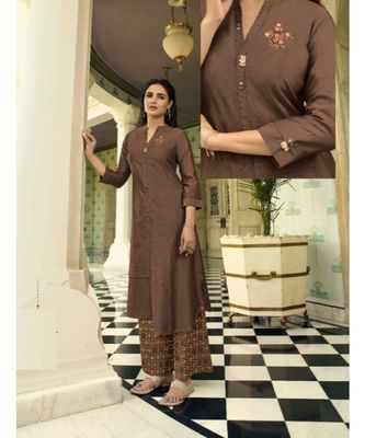 Brown Embellished Printed Party Wear Kurti