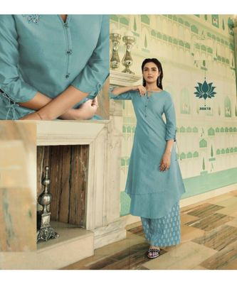 Turquoise Embellished Printed Party Wear Kurti