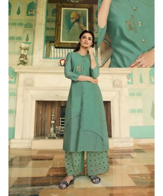 Green Embellished Printed Party Wear Kurti
