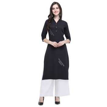Black embroidered rayon long-kurtis