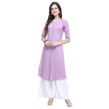 Light-lavender plain rayon long-kurtis