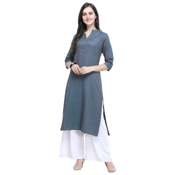 Aqua-blue plain rayon long-kurtis