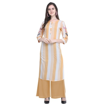 Light-orange embroidered rayon long-kurtis