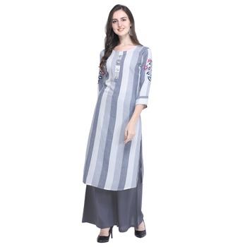 Light-blue embroidered rayon long-kurtis