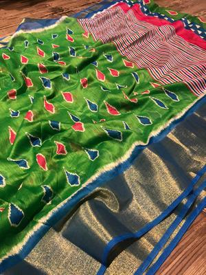 green cotton Pochampally saree with blouse