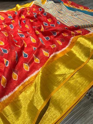 red cotton Pochampally saree