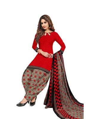 Red printed crepe salwar