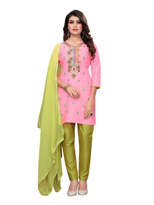 Pink embroidered art silk salwar