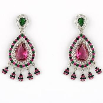 Delicate Earrings in Pink and Green Austrian Diamonds