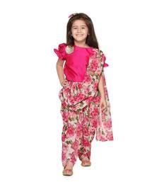 Magenta Choli with Multicolour Dhoti Saree Set