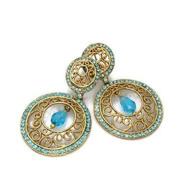 Trendy Round Earrings in Austrian Diamonds