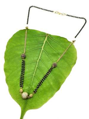 Stone Studded White Pearl Double Layer Black Bead Single Chain Short Mangalsutra Designs Latest