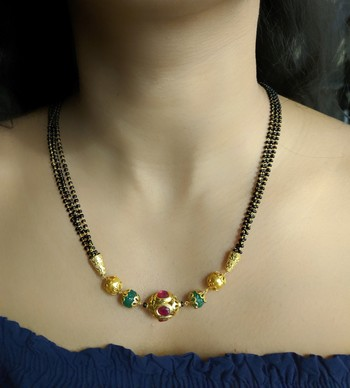 Red Stone Studded Green Beads 3 There Multilayer Black Beads Short Mangalsutra Designs Latest Chain