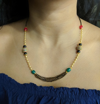Red Green Stone Studded Black Beads Multilayer Beads Single Line Chain Short Mangalsutra Designs Latest