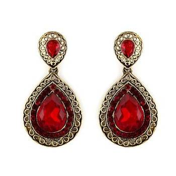 Beautiful Red Danglers in Austrian Diamonds