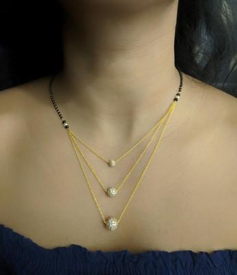 3 Round Mani Stone Studded Multi Strand There Layer Chain Black Bead Single Line Short Mangalsutra Designs Latest