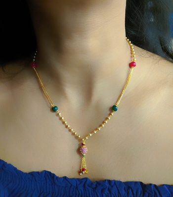 Multicolor Round Mani Latkan Green Red Stone Golden Beads Double Line Layer Chain Short Mangalsutra Designs Latest