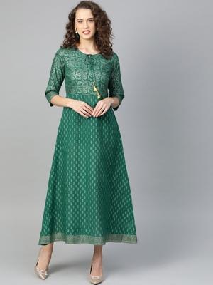 Dark-green printed cotton poly kurtas-and-kurtis
