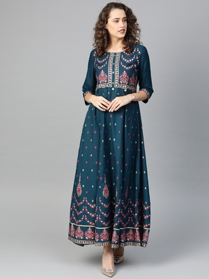 Dark-blue printed liva kurtas-and-kurtis