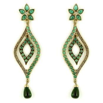 Beautiful Green Danglers in Austrian Diamonds