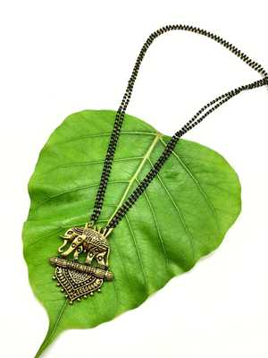 Women Mangalsutra Gold Elephant Pendant Black Beads Double Line Layer Long Mangalsutra Designs Latest Chain
