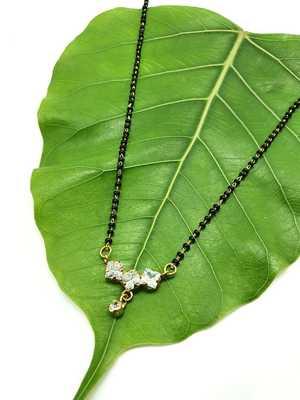 Golden 3 Big American Diamond Pendant Latkan Black Bead Single Line Layer Short Mangalsutra Designs Latest Chain