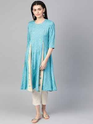 Blue printed liva kurtas-and-kurtis