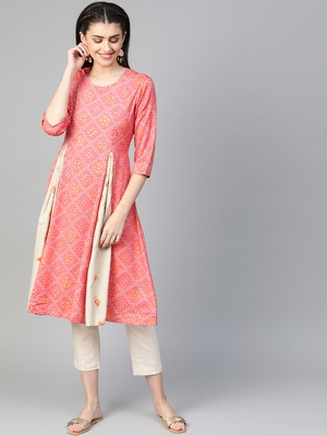 Pink printed liva kurtas-and-kurtis