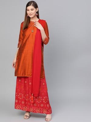 Orange plain dupion silk salwar