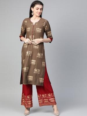 Brown printed rayon salwar